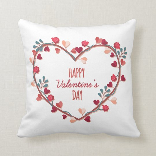 Happy Valentine's Day Hearts Wreath Throw Pillow
