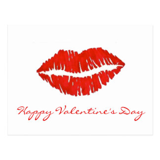 Happy Valentine's Day Lipstick Kiss Postcards