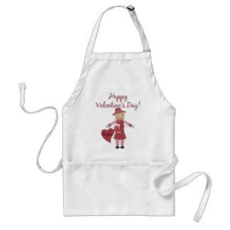Happy Valentine's Day Little Blonde Doll Standard Apron
