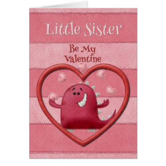 Happy Valentine's Day Little Sister Greeting Card
