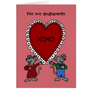 Happy Valentine's day mice for godparents Greeting Card