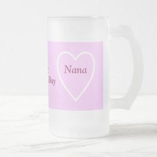 Happy Valentine's Day Nana - I Love You Frosted Glass Mug