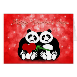 Happy Valentine's Day Panda Couple with Hearts Greeting Card