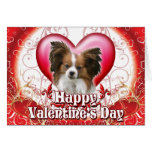 Happy Valentines Day Papillon Greeting Card