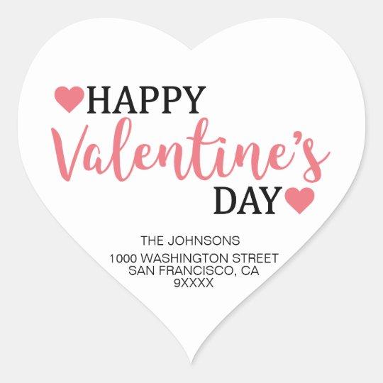 HAPPY VALENTINE's DAY Pink Heart Return Address Heart Sticker