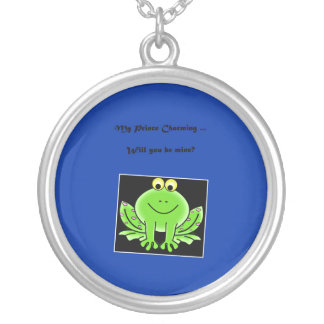 Happy Valentine's Day Prince Charming with frog Round Pendant Necklace
