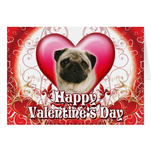Happy Valentines Day Pug Cards