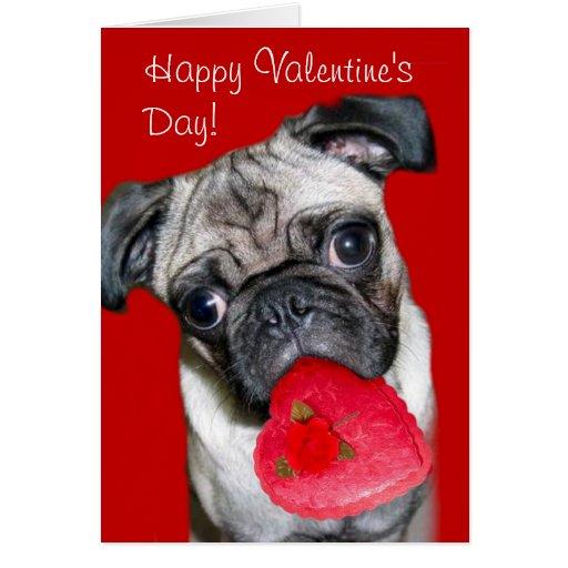 Happy Valentine's Day pug greeting card