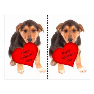 Happy Valentine's Day Puppy Postcard