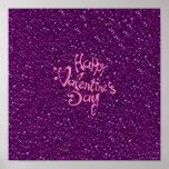 happy Valentines Day, purple Poster