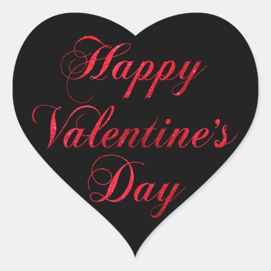 HAPPY VALENTINE's DAY Red Black Glitter Heart Heart Sticker