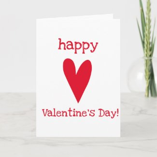 Happy Valentine's Day! Red Heart Holiday Card