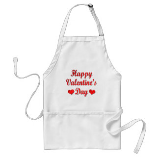 Happy Valentine's Day Red Hearts Adult Apron