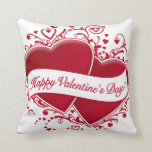 Happy Valentine's Day! Red Hearts Throw Pillows