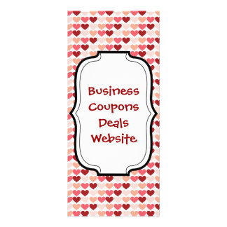 Happy Valentine's Day Red Pink Hearts Pattern Full Color Rack Card