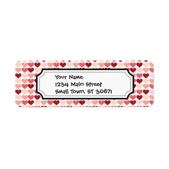 Happy Valentine's Day Red Pink Hearts Pattern Return Address Label