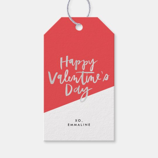 Happy Valentine's Day Red Postage Stamps Gift Tags