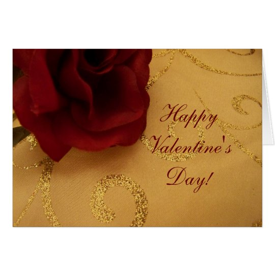 Happy Valentine's Day Red Rose Greeting Card