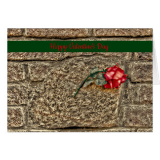 """Happy Valentine's Day"" Red Rose On Brick Wall Card"