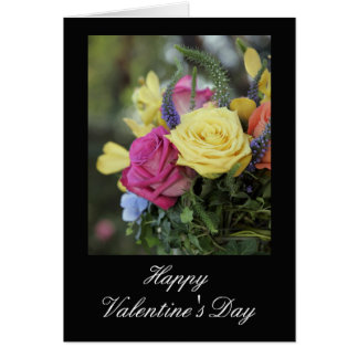 Happy Valentine's Day Roses against Black Greeting Card