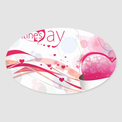 Happy Valentine's Day Oval Sticker
