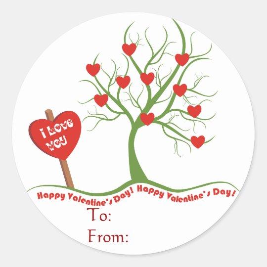 Happy Valentine's Day Sticker-Gift tag Round Sticker