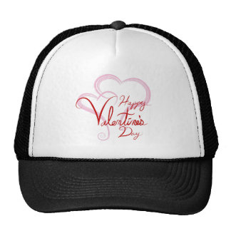 Happy Valentines Day Two Pink Hearts Cap