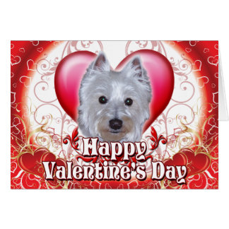 Happy Valentines Day Westie Greeting Card