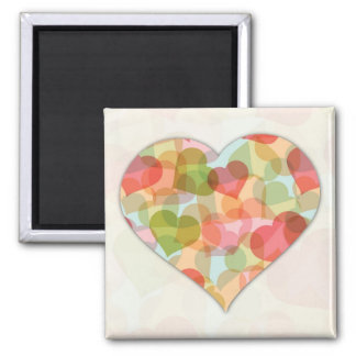 Happy Valentines Day with colorful hearts Square Magnet