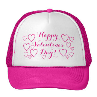 Happy Valentine's Day with Pink Hearts Cap