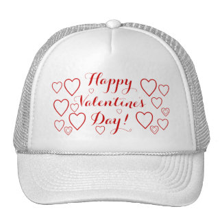 Happy Valentine's Day with Red Hearts Cap