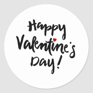 Happy Valentine's Day with Tiny Red Heart Round Sticker