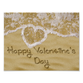 """Happy Valentine's Day"" written in sand - Poster"