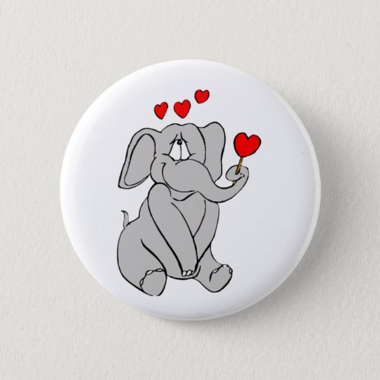 Happy Valentines Elephant 6 Cm Round Badge