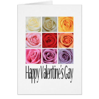 Happy Valentine's Gay, Rainbow Roses Card