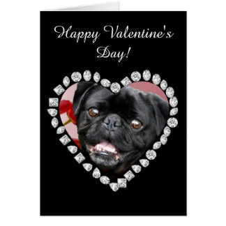 Happy Valentine's Pug Dog greeting card