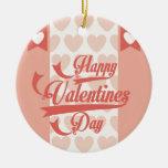 happy valentines round ceramic decoration