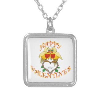 Happy valentine's, two love birds square pendant. silver plated necklace