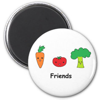 Happy Vegetable Friends 6 Cm Round Magnet