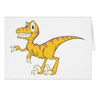 Happy Velociraptor Dinosaur Greeting Cards