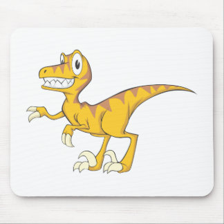 Happy Velociraptor Dinosaur Mousepads