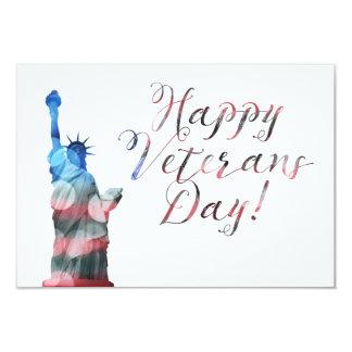 Happy Veterans Day (liberty bokeh) 9 Cm X 13 Cm Invitation Card