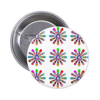 HAPPY Vibes :  Graphic Flower CHAKRA Art 6 Cm Round Badge