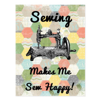 Happy Vintage Sewing Postcard