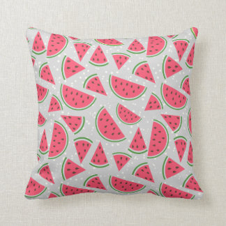Happy Watermelon Pattern - Choose Your Background Throw Pillow