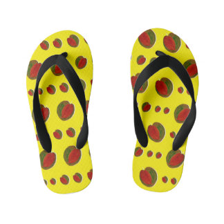 HAPPY WATERMELONS: yellow [childhood diary] Flip Flops