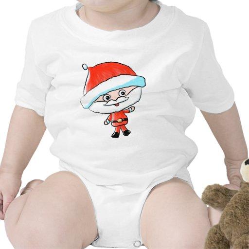Happy Waving Christmas Santa Tee Shirts