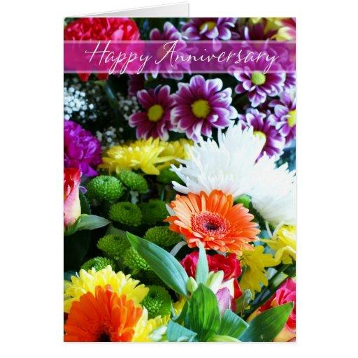 Happy wedding anniversary bouquet of flowers card zazzle