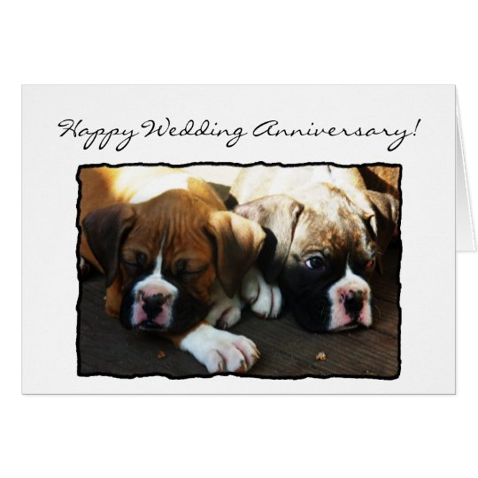 Happy Wedding Anniversary Boxer greeting card