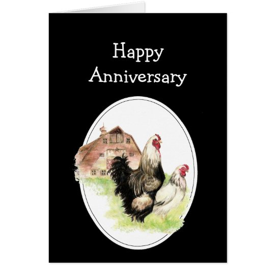 Happy Wedding  Anniversary Farm, Country Chicken Card